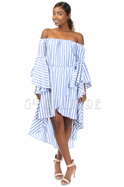 Off Shoulder Chambray Striped Ruffle Sleeved Tango Overlap Dress
