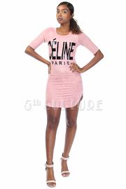 Celine Paris Graphic Short Sleeved Fit Dress