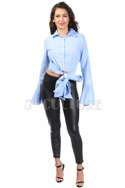 Button Down Tie Waist Bell Sleeved Shirt