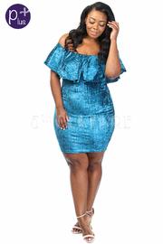 Plus Size Off Shoulder Velvet Ruffle Midi Dress