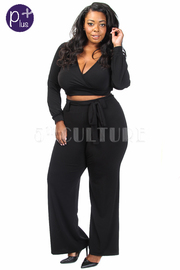 Plus Size Solid Cropped Palazzo Pants Set