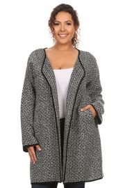 Plus Size Winter Marled Woven Draped Pocket Cardigan