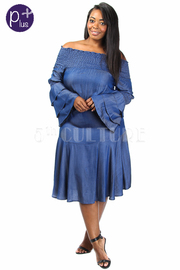 Plus Size Off Shoulder Smocked Ruffle Sleeved Peasant Dress