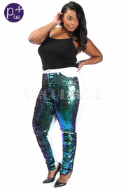Plus Size Disco Sequin Ripped Knee Jeans