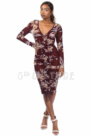 Spring Ruched Floral Mesh Bodycon Dress