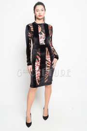 Sequin Abstract Velvet Striped Mini Cocktail Dress