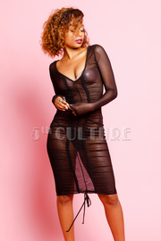 See Through Mesh Ruched Midi Dress