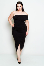 Plus Size Asymmetrical Off Shoulder Midi Short Sleeved Dress