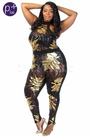 Plus Size Sequin Holiday Cocktail Halter Leaves Jumpsuit