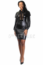 Sexy In Faux Leather Ruffle Cross Straps Bomber Dress
