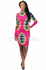 High Neck Ethnic Printed Midi Tube Dress