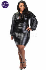 Plus Size Cross Straps Bomber Faux Leather Mini Dress