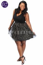 Plus Size Solid & Glittery Mesh Skater Dress