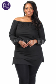 Plus Size Wide Neck Solid Long Sleeved Top