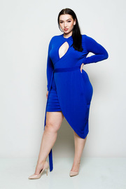 Plus Size Keyhole Wrap Tie Overlap Midi Dress