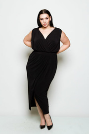 Plus Size Draped Surplice Maxi Dress
