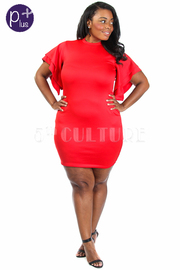 Plus Size Flowy Sleeved Tube Dress