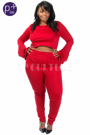Plus Size Bell Sleeved Cropped Fashion Pants Set