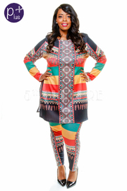 Plus Size Colorful Reggea Printed Slit Side Top and Pants Set
