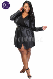 Plus Size Sexy In Faux Leather Tie Waist Robe Mini Dress