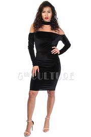 Sexy In Velvet Choker Off Shoulder Midi Dress