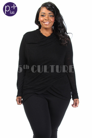 Plus Size Overlap Long Sleeved Solid Top