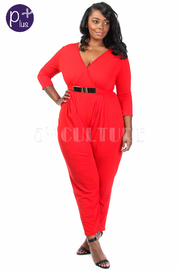 Plus Size Surplice Belted Fit Jumpsuit