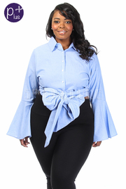 Plus Size Button Down Tie Waist Bell Sleeved Shirt