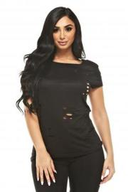 Destroyed Casual Short Sleeved Top