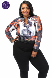 Plus Size Flawless Fashion Printed Bomber Jacket
