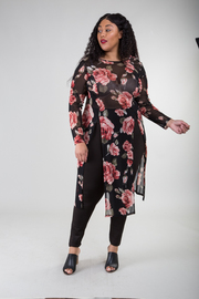 Plus Size Double Slit Roses Mesh Top