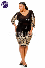 Plus Size Baroque V-neck Sequin Mini Dress