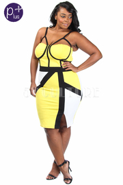 Plus Size Sexy Colorblock Midi Tube Panel Dress