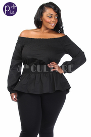 Plus Size Off Shoulder Smocked Long Sleeved Top