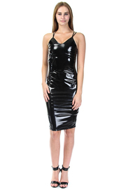 Sexy In Faux Leather Cross Straps Midi Tube Dress