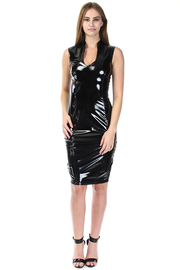 V-neck Cocktail Midi Faux Leather Dress