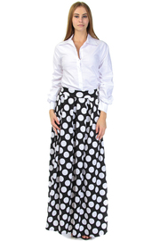 Big Polka Dot Scuba Maxi Skirt