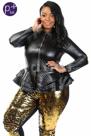 Plus Size Checkered PU Zip Down Peplum Ruffle Jacket