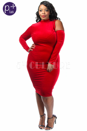 Plus Size One Open Shoulder Velvet Holiday Dress