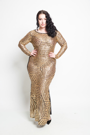 Plus Size Mixed Lined Sequin Cocktail Maxi Gown