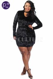 Plus Size Keyhole Velvet Long Sleeved Mock Dress