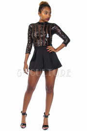 Sequin & Solid Mini Ponti Combo Romper