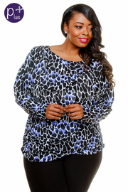 Plus Size Wild Printed Long Sleeved Top