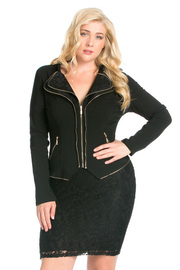 Plus Size Double Trim Zipper Down Ruffle Collar Jacket