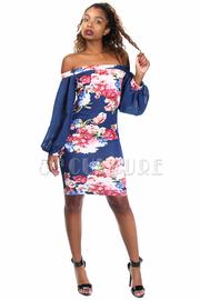 Off Shoulder Sheer Sleeved Floral Midi Dress