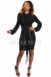 Solid & Tie Up Bell Sleeved Mini Dress