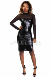 Mesh Trim Faux Leather Midi Dress