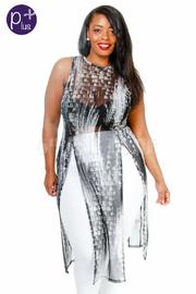 Plus Size Printed Double Slit Mesh Dress