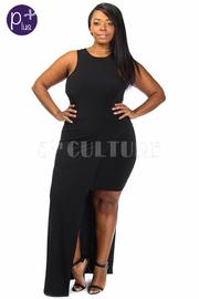 Plus Size Long Hem Side Mini Combo Cocktail Dress