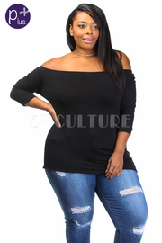 Plus Size Off Shoulder Solid 3/4 Sleeved Top